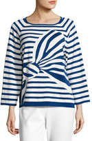 Joan Vass Striped Graphic-Bow Sweater