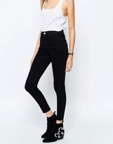 Asos Ridley High Waist Skinny Jeans In Clean Black