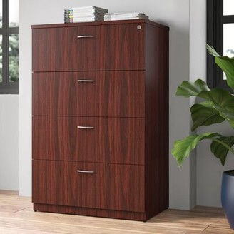 Essentials 4-Drawer Lateral Filing Cabinet Lorell Finish: Mahogany