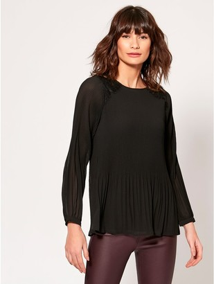 M&Co Pleated lace blouse