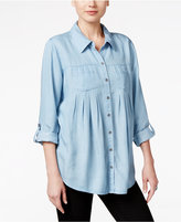 Style&Co. Style & Co. Petite Denim Roll-Tab Shirt, Only at Macy's