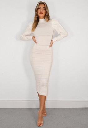 Missguided White Puff Sleeve Textured Knit Midaxi Dress