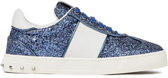 Valentino Flycrew Studded Glittered Leather Sneakers