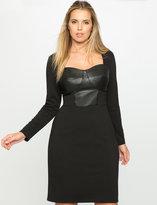 ELOQUII Plus Size Studio Faux Leather Empire Dress