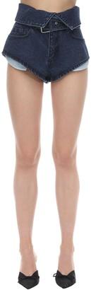Marques Almeida Cotton Denim Folded Waistband Shorts