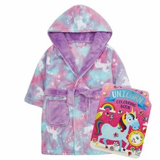 Metzuyan Infant Child Violet Unicorn Rainbow Novelty Dressing Gown 13 Years + Activity Book