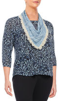 Style And Co. Plus Printed Knit Top with Printed Scarf