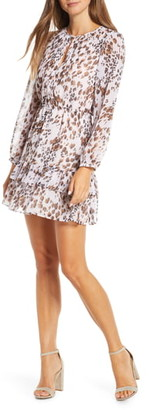 Adelyn Rae Vania Print Pleats & Ruffles Long Sleeve Dress