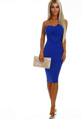 Pink Boutique Knots Over You Cobalt Blue Tie Front Strapless Midi Dress