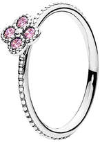 Pandora Pink Oriental Blossom Silver Cz Ring