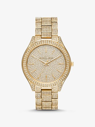 Michael Kors Slim Runway Pave Gold-Tone Watch