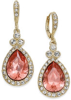 Givenchy Gold-Tone Pave & Pink Stone Drop Earrings