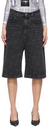 Balenciaga Black Denim Allover Logo Shorts