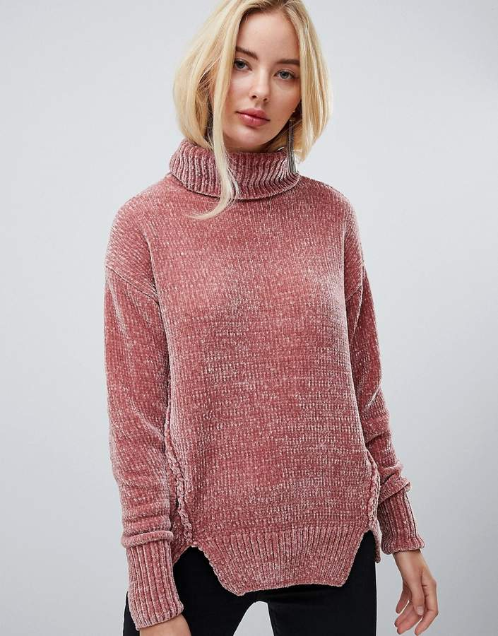 Oversized Sweater With Roll Neck In Chenille
