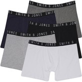 Smith And Jones Mens Plus Size Essential Five Pack Boxers Black/Night Sky/Charcoal Marl/Light Grey