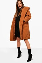 boohoo Petite Nicola Oversized Hooded Teddy Coat