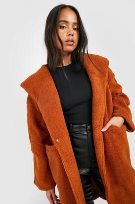 boohoo Petite Oversized Hooded Teddy Coat