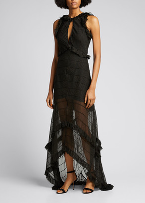 retrofete Dina Sheer High-Low Ruffle Maxi Dress