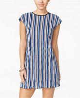Speechless Juniors' Striped Lattice-Back Shift Dress