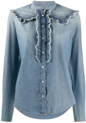 Golden Goose Ruffle Trimming Denim Shirt