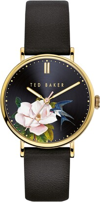 Ted Baker Phylipa Flowers Leather Strap Watch, 37mm