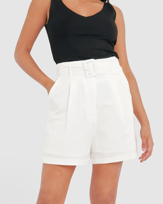 Forcast Women's White High-Waisted - Jana Belted Linen Shorts - Size One Size, 12 at The Iconic