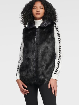 DKNY Women's Hooded Puffer Vest With Faux Fur Front - Black - Size XX-Small