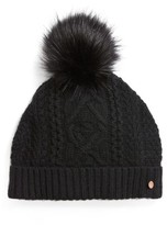 Ted Baker Women's Cable Knit Faux Fur Pompom Beanie - Black