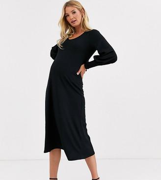 ASOS DESIGN Maternity long sleeve swing rib bow back midi dress