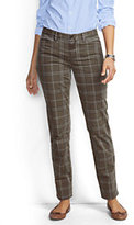 Lands' End Women's Petite Not-Too-Low Rise Slim Ankle Pants-Brown Plaid