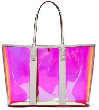 Christian Louboutin Cabata Spike-embellished Iridescent-pvc Tote - Womens - Clear Multi