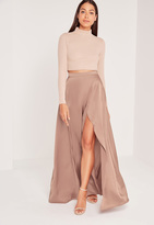 Missguided Satin Split Side Maxi Skirt Nude