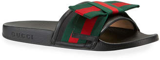 Gucci Flat Pursuit Slide With Bow