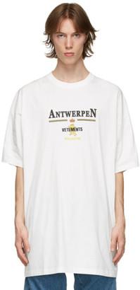 Vetements White Oversized Antwerpen T-Shirt