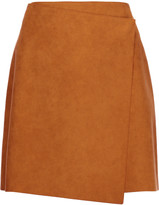 MSGM Wrap-effect faux suede mini skirt