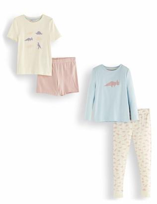 Amazon Brand - RED WAGON Girl's Cotton Pyjama Set Pack of 2