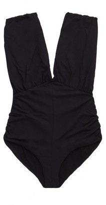 Marysia Swim Monterey Plunge-neckline Ruched Swimsuit - Black