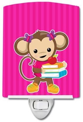 Caroline's Treasures Monkey and School books Ceramic Night Light