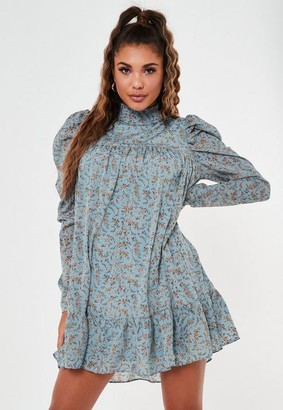 Missguided Blue Ditsy Floral High Neck Puff Sleeve Smock Dress