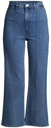 3x1 Nicolette High-Rise Pintuck Flare Cropped Jeans