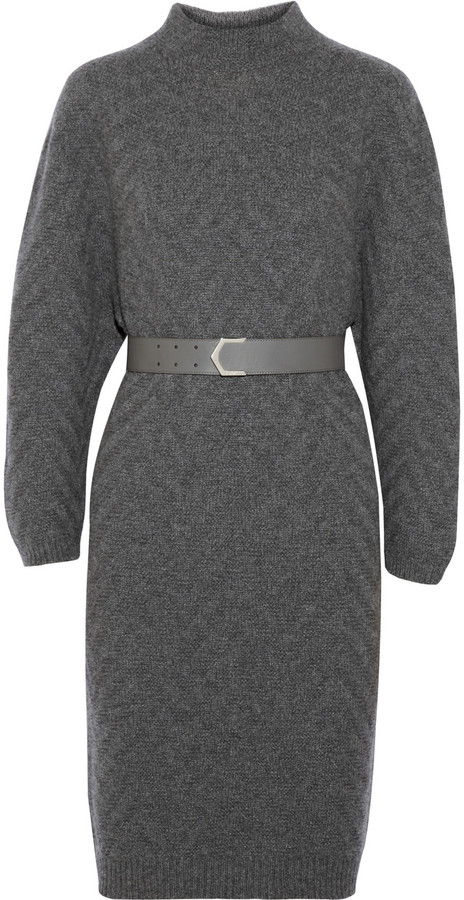 Fendi Chevron-patterned cashmere sweater dress