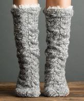 Flannel Powder Cable-Knit Slipper Socks