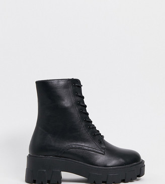 Raid Wide Fit Rexx chunky ankle boots with exaggerated cleated sole in black
