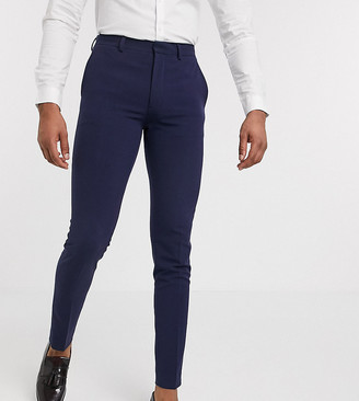 ASOS DESIGN Tall super skinny suit trousers in four way stretch in navy