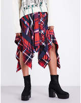 Sacai Asymmetric tartan satin skirt