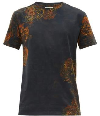 Etro Rose-print Cotton-jersey T-shirt - Mens - Blue