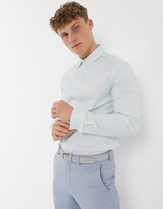 ASOS DESIGN skinny fit oxford shirt in mint with double cuff