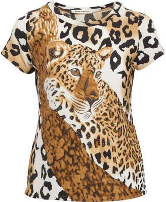 Peek A Boom Peek-a-BOOM Women's Tee Shirts Black - Brown & Black Cheetah Print Rhinestone Tee - Plus