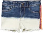 Ikks Indigo Dip Dyed Denim Shorts with Fringe Detail
