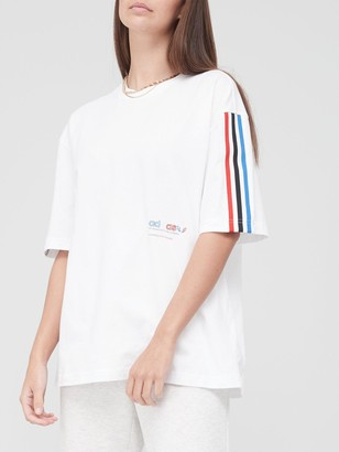 adidas Tricolor Oversized T-Shirt - White